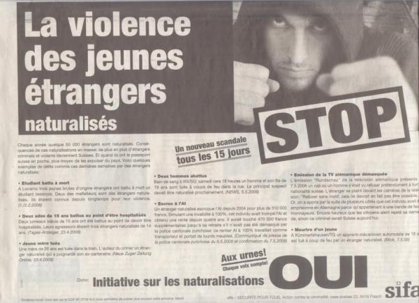 L'annonce de SIFA qui met en cause les jeunes étrangers et naturalisés vivant en Suisse.